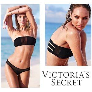 victoria's secret black & mesh bandeau bikini top